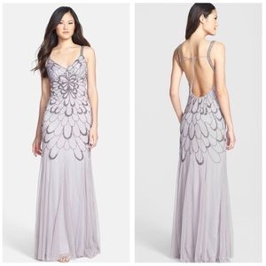Adrianna Papell Beaded Backless Mesh Art Deco Gown